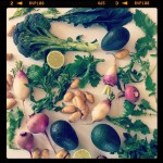 Lots of root veggies & hearty greens from @smfms. Can't wait to make that rapini!