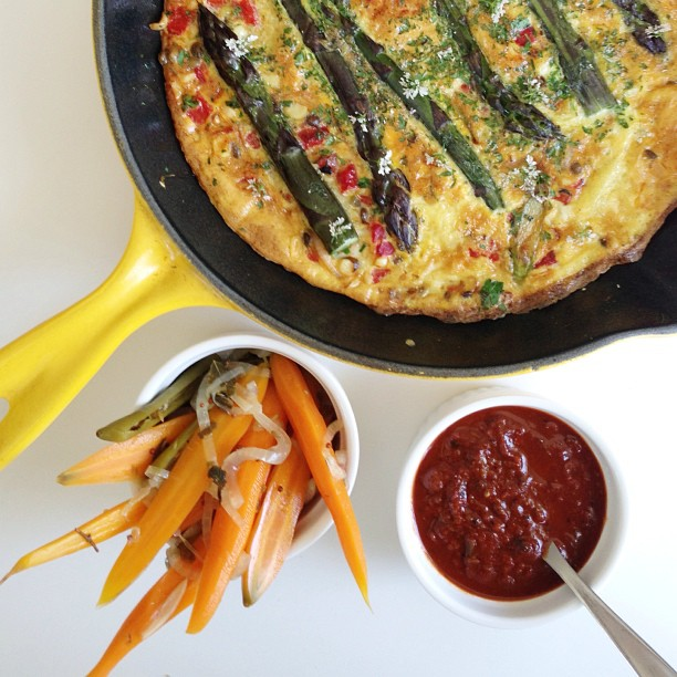 Purple asparagus and corn frittata//pickled carrots//smokey ancho salsa
