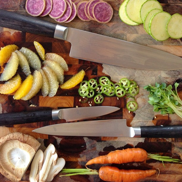 Freshly sharpened knives make me want to chop, slice, dice everything in sight. Happy, happy!