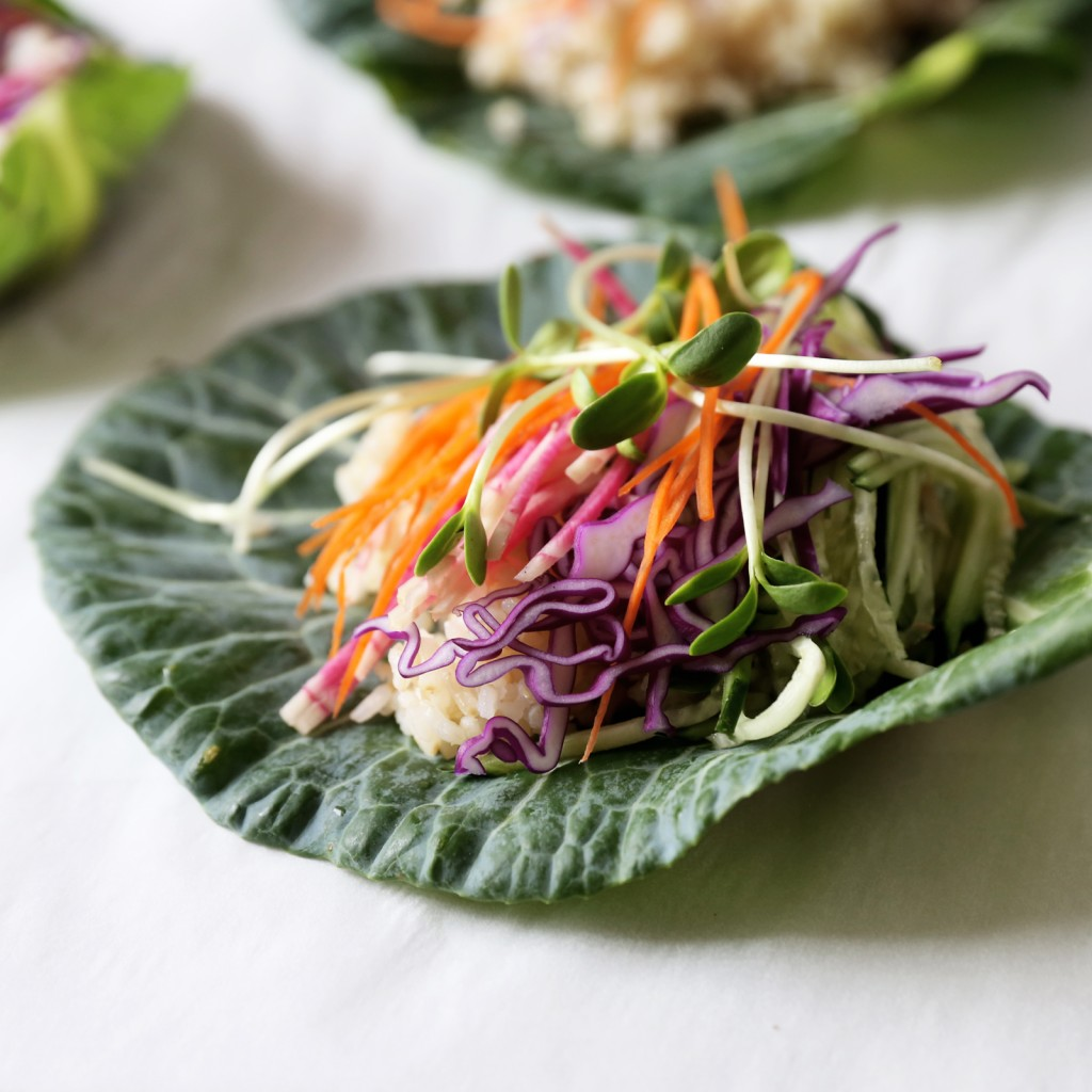 Recipe for Collard Wraps with Brown Rice from Julie's Kitchen www.julieskitchen.me
