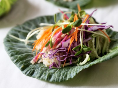1732Recipe: Collard Green Wraps with Brown Rice and Vegetables