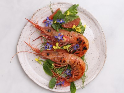 1711A Recipe: Grilled Spot Prawns with Pea Shoots + Citrus