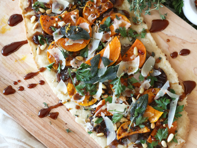 2034Recipe: Butternut Squash, Sage, and Caramelized Onion Flatbread with Balsamic Glaze (Gluten-free)