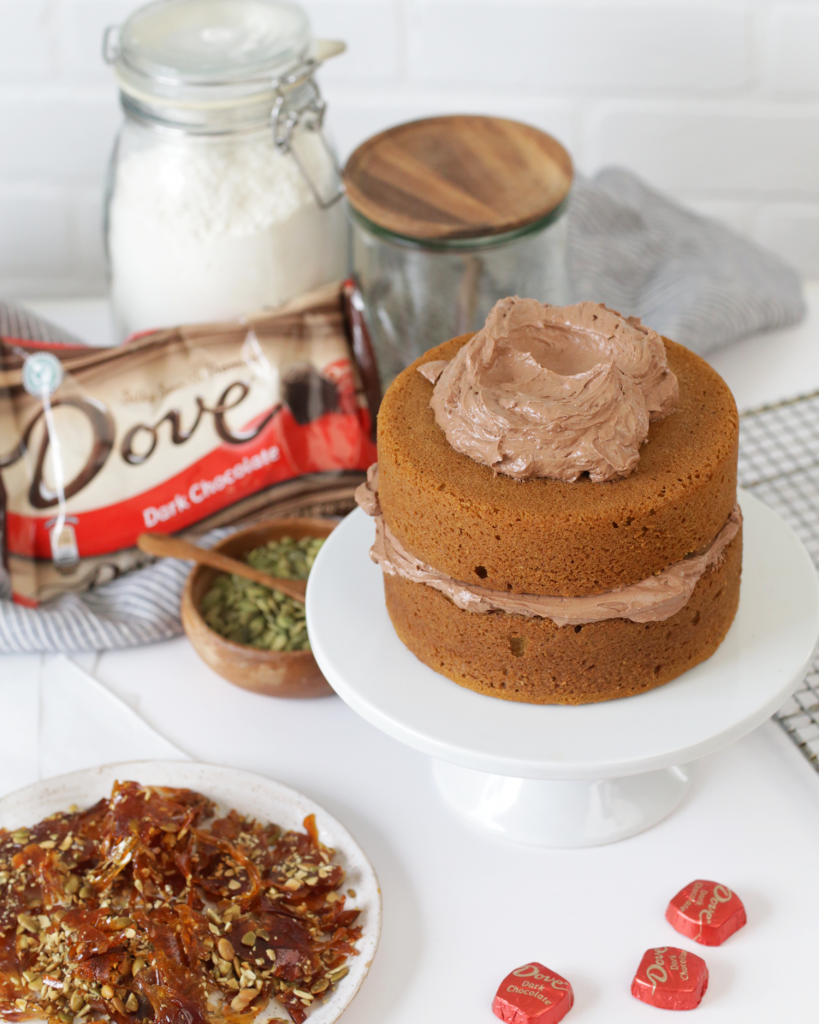 @julieskitchen Spiced Pumpkin Cake with Dark Chocolate Frosting