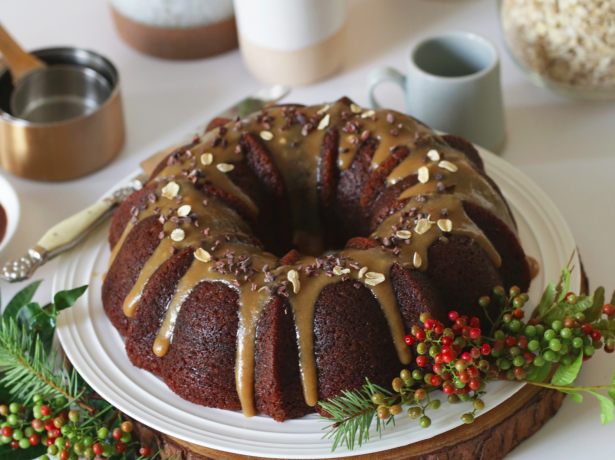 2255Recipe: Banana Oat Bundt Cake with Sea Salt Caramel Glaze