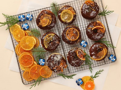 2245Recipe: Baked Donuts with Dove Chocolate Glaze and Candied Citrus